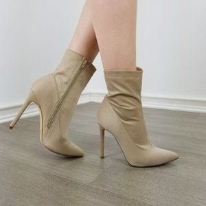 Taupe Pointy Toe Sexy Stiletto Ankle Sock Boots